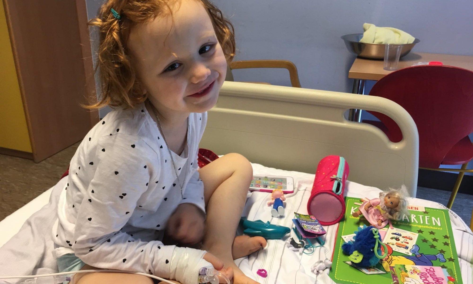 Emma im Krankenbett auf der Onko